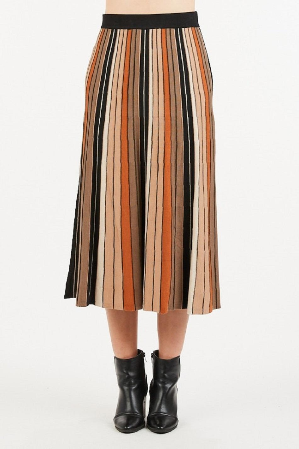 LoveRiche Stripped Knitted Skirt - Front Full Image