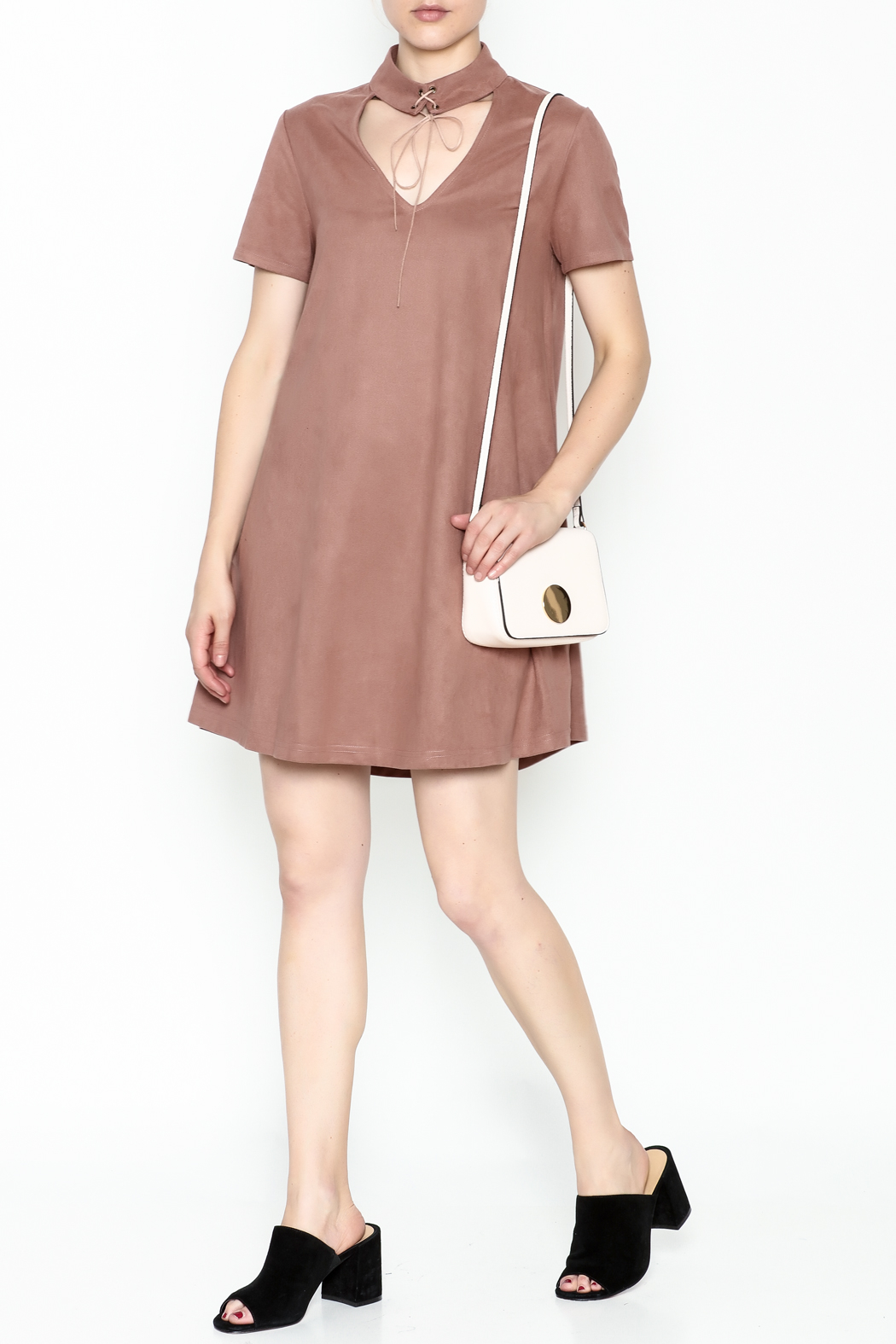 LoveRiche Suede Choker Dress - Side Cropped Image