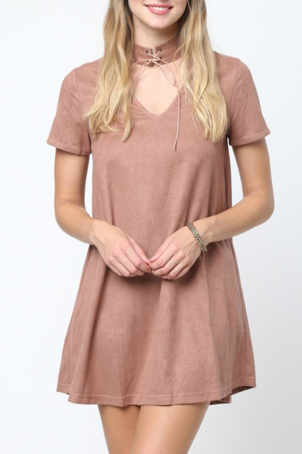 LoveRiche Suede Choker Dress - Front Cropped Image