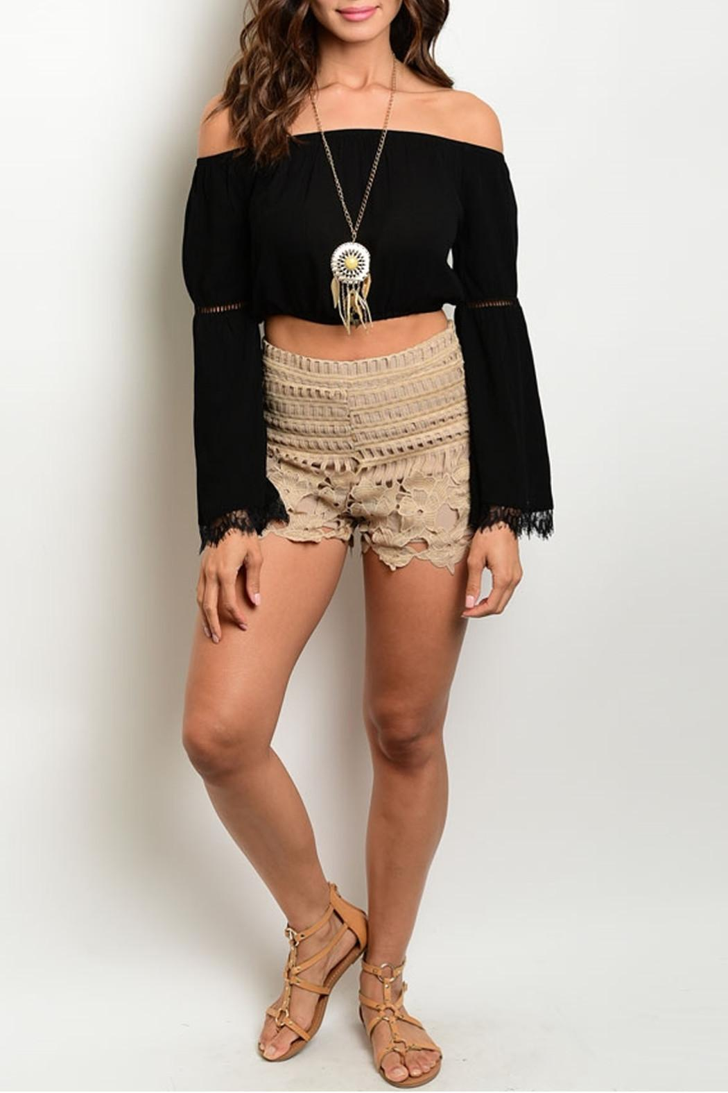 LoveRiche Taupe Scalloped Shorts - Side Cropped Image