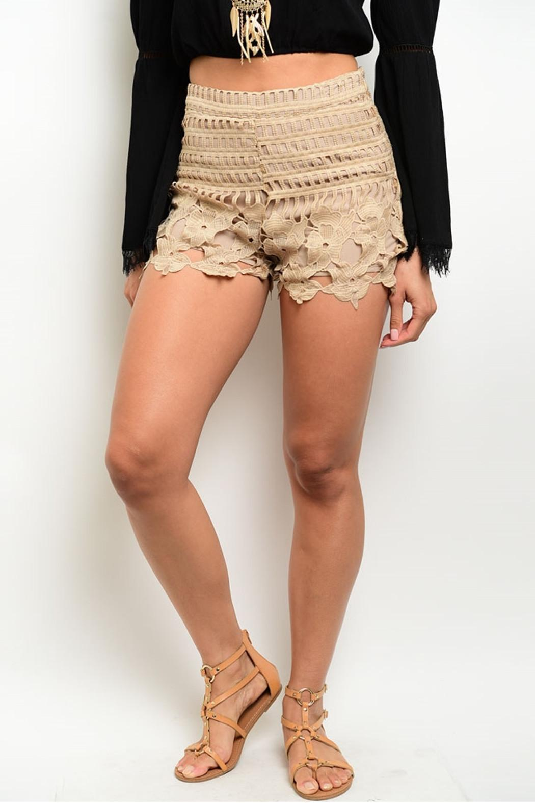 LoveRiche Taupe Scalloped Shorts - Main Image