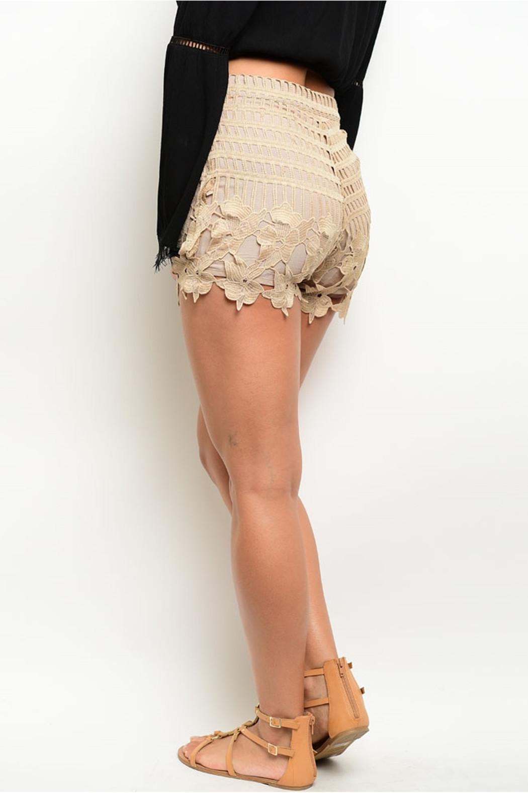 LoveRiche Taupe Scalloped Shorts - Front Full Image