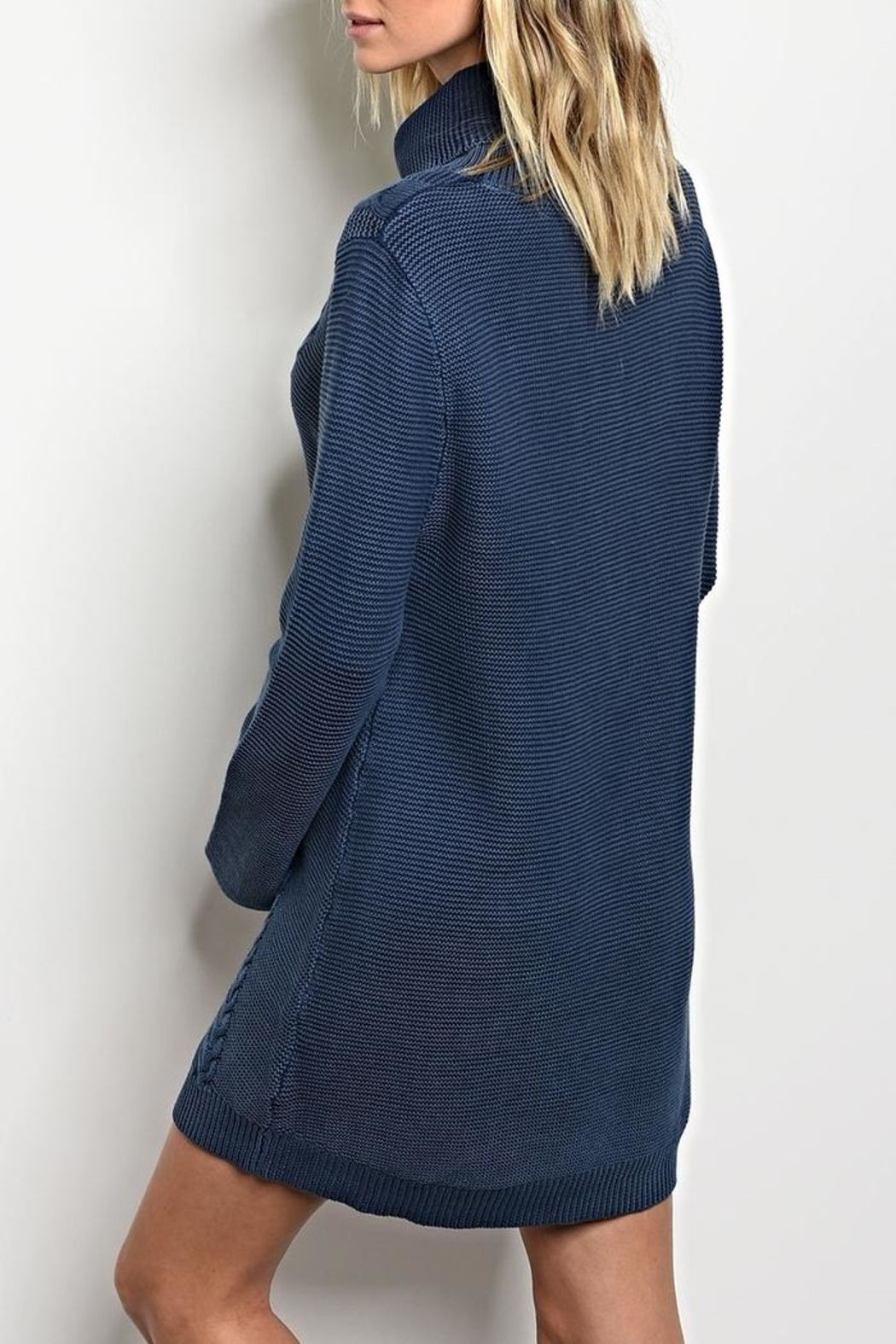 LoveRiche Turtleneck Indigo Sweater - Front Full Image