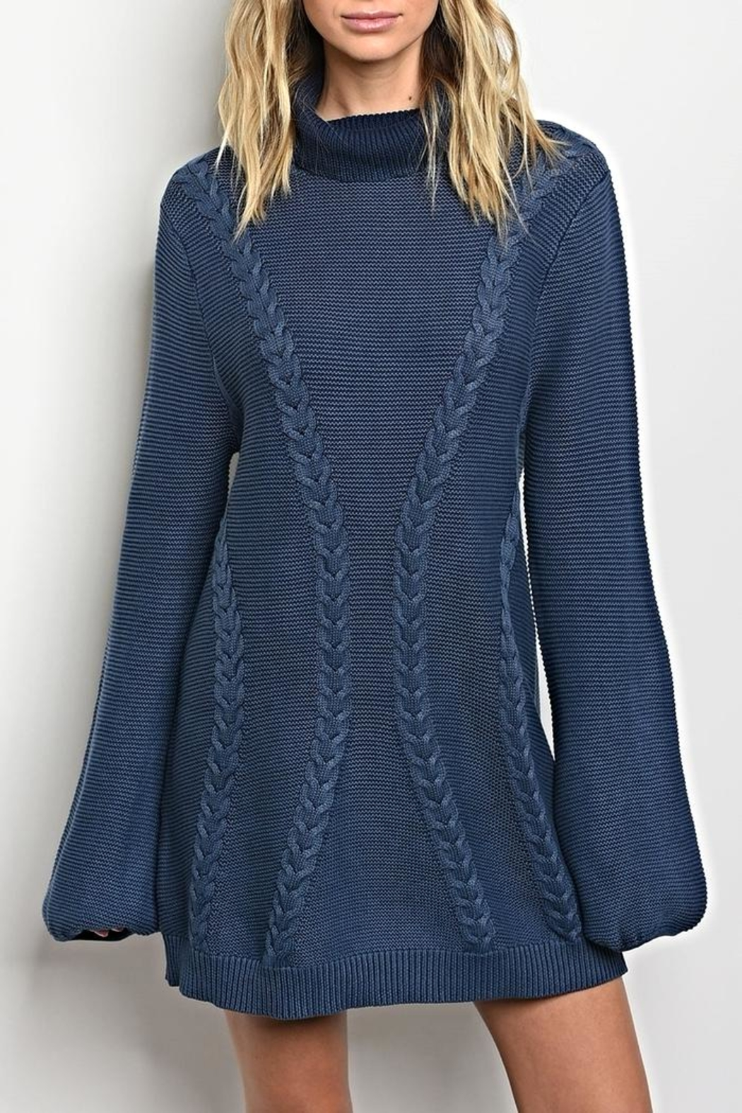 LoveRiche Turtleneck Indigo Sweater - Main Image
