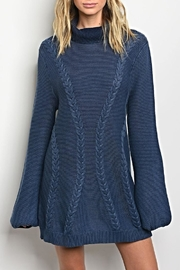 LoveRiche Turtleneck Indigo Sweater - Product Mini Image
