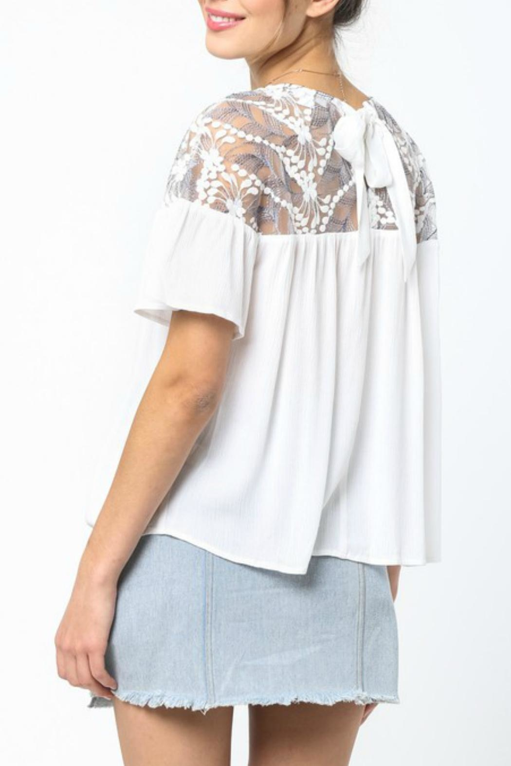 LoveRiche White Embroidered Top - Side Cropped Image