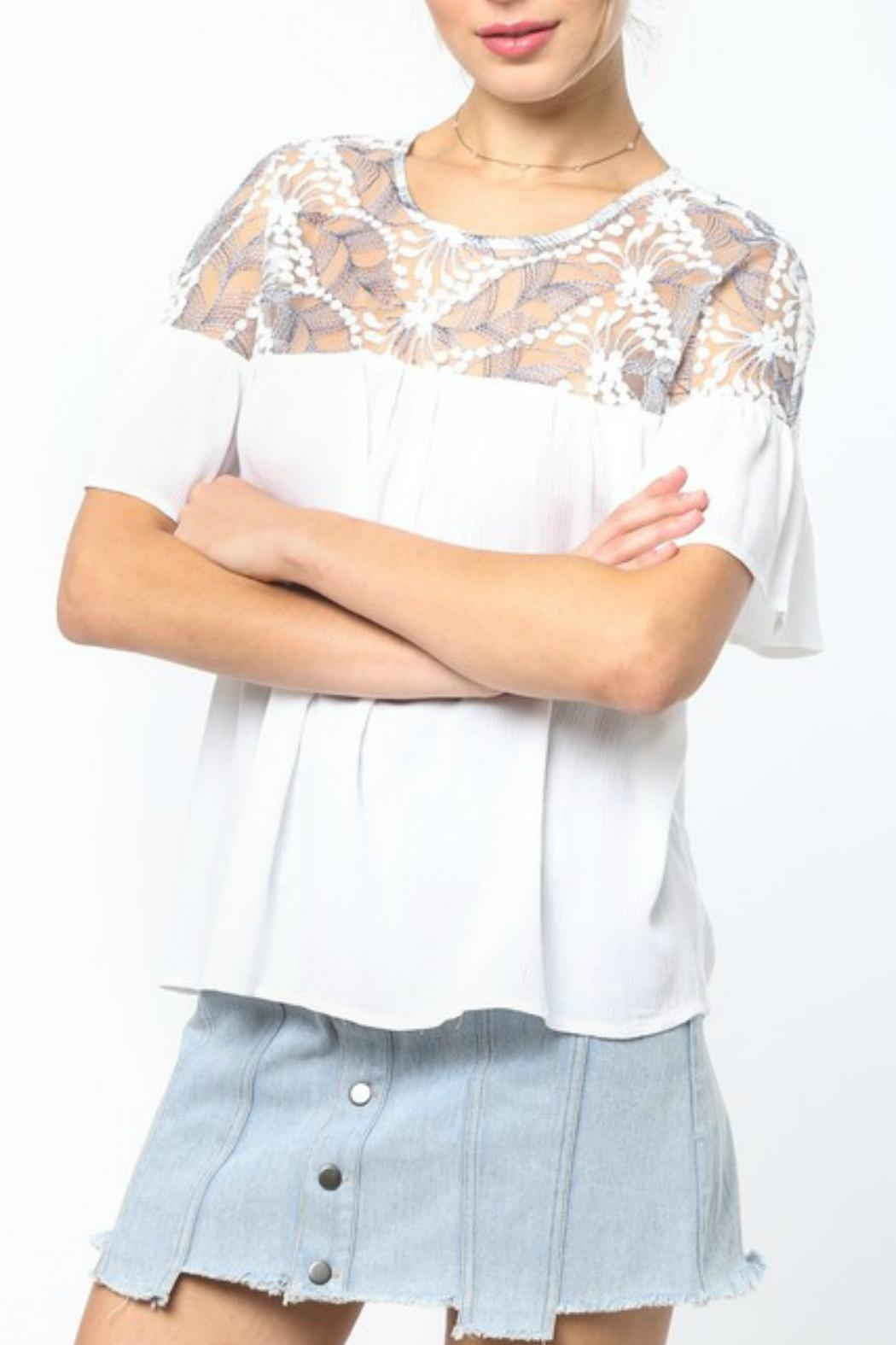 LoveRiche White Embroidered Top - Front Full Image