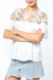 LoveRiche White Embroidered Top - Front full body