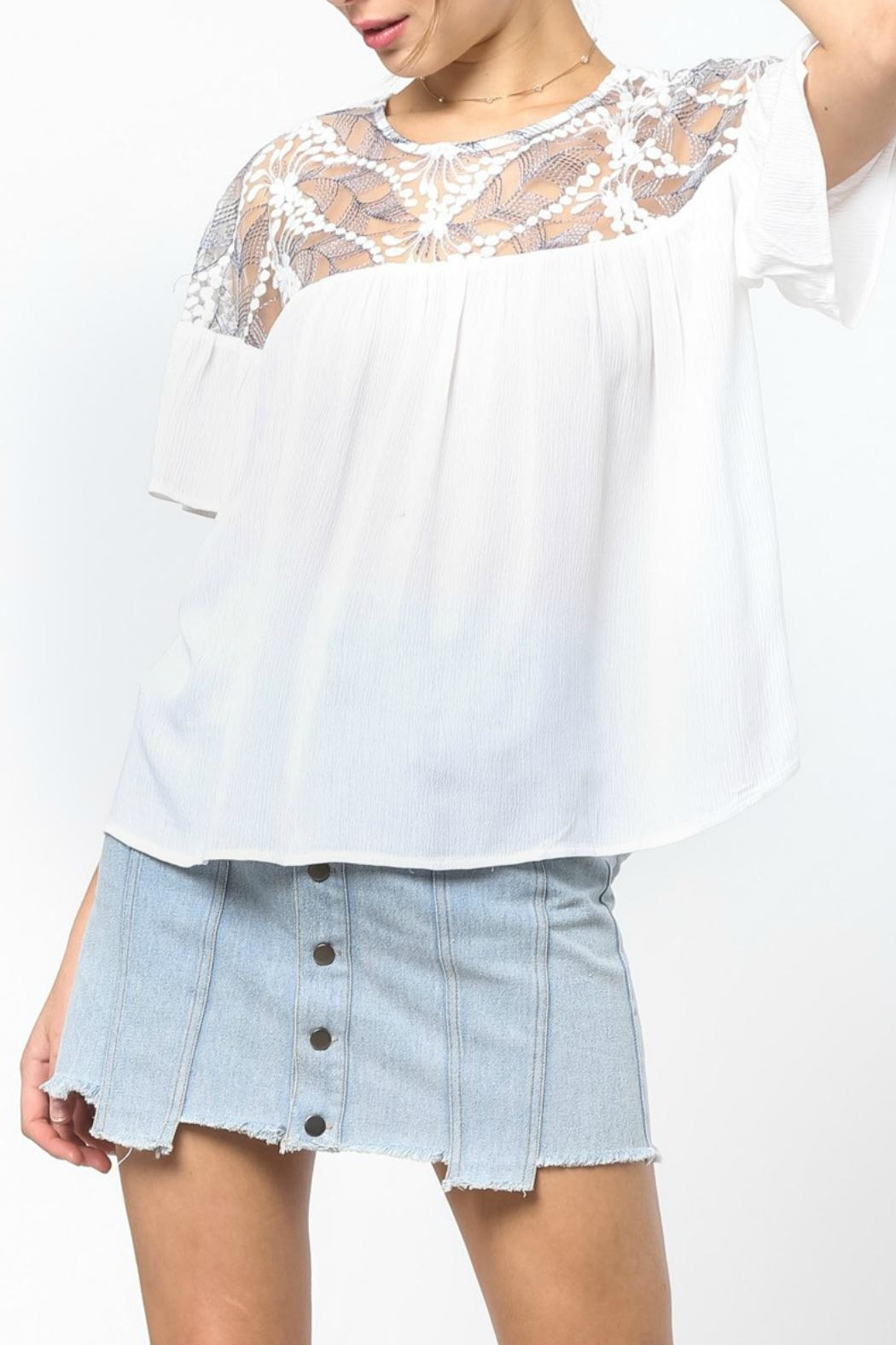 LoveRiche White Embroidered Top - Main Image