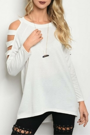 LoveRiche White Shoulder Top - Product Mini Image