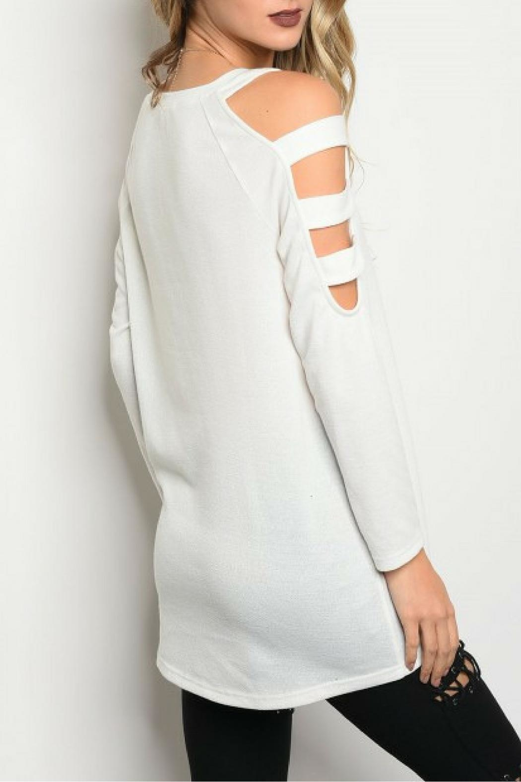 LoveRiche White Shoulder Top - Front Full Image