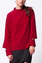LoveRiche Wine Cut-Out Blouse - Front cropped