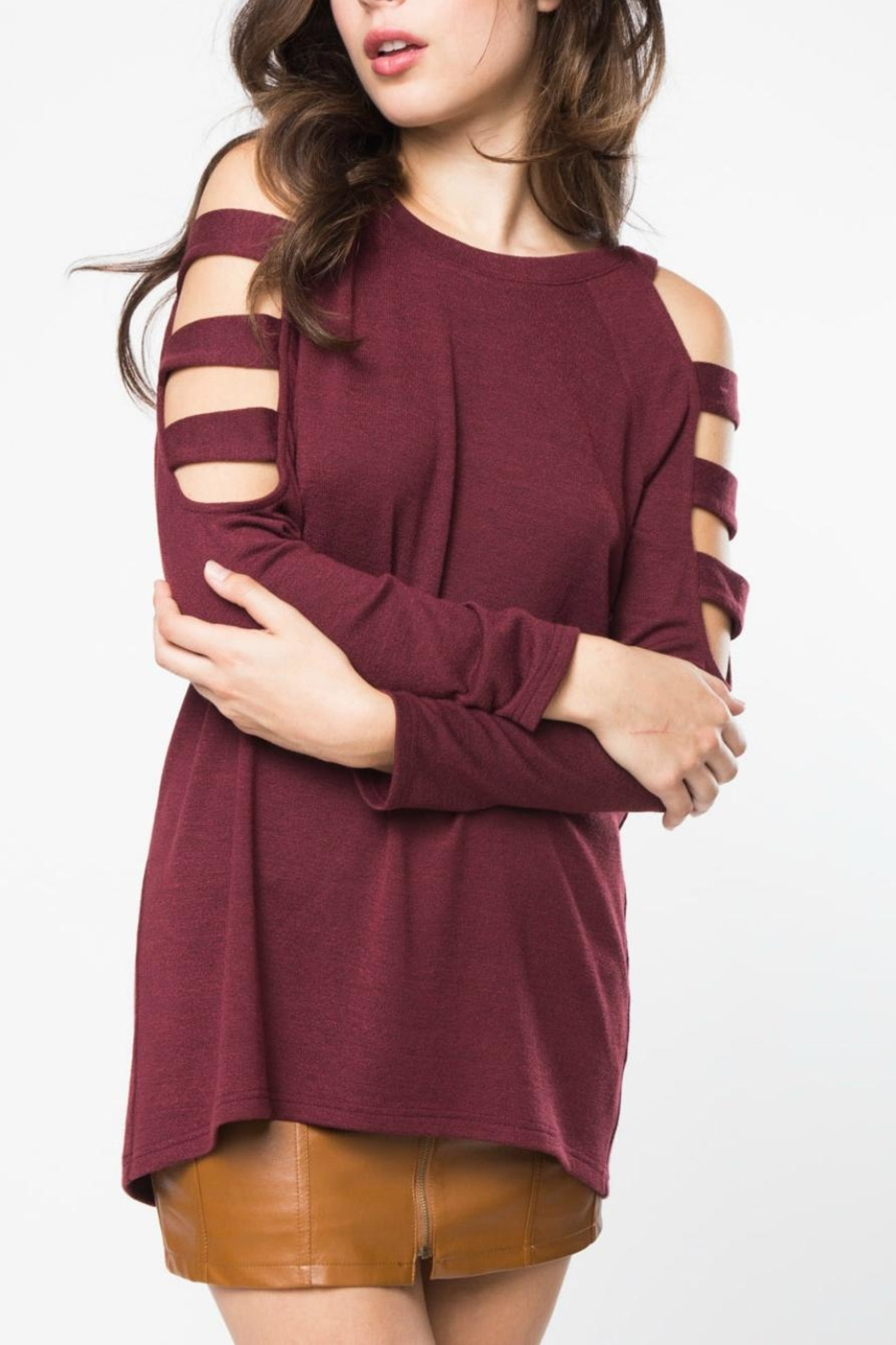 LoveRiche Wine Knit Tunic - Main Image