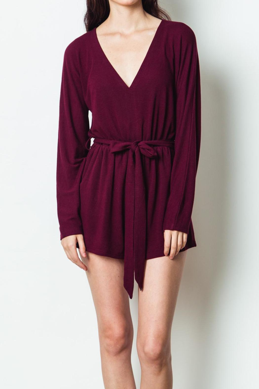 1c0bd910057 LoveRiche Wine Long Sleeve Romper from Wilmington by The Dress Shop ...