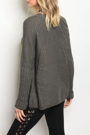 LoveRiche Zipper Accent Sweater - Front full body