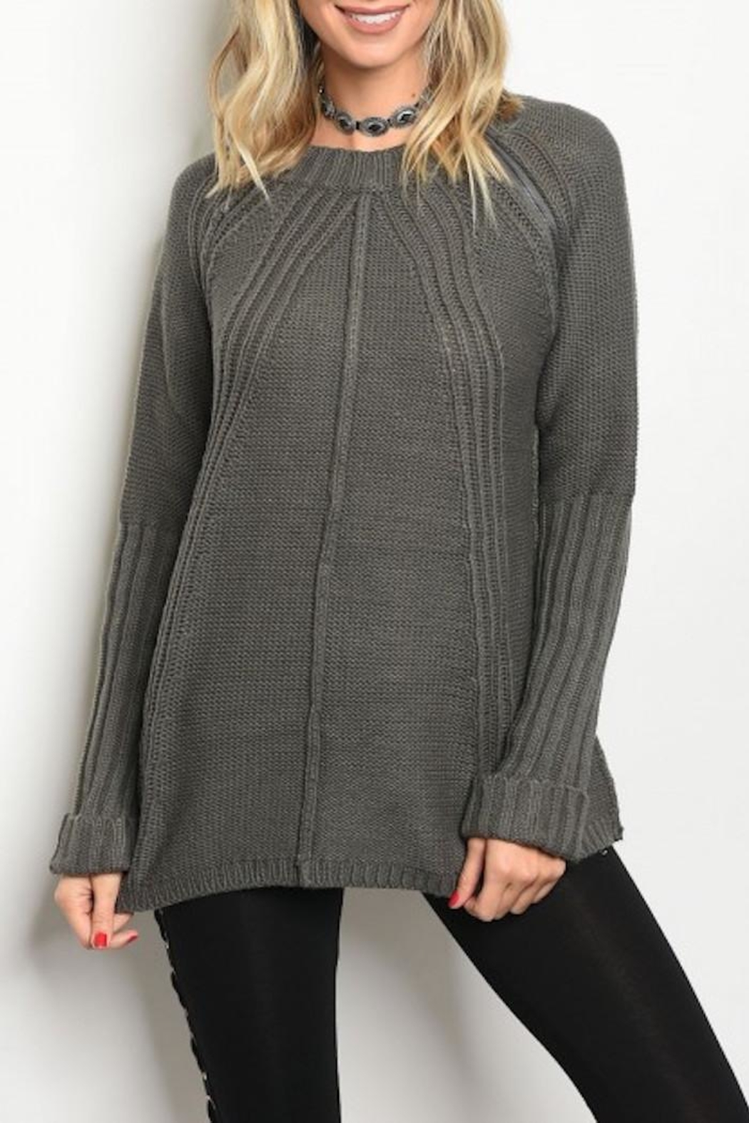 LoveRiche Zipper Accent Sweater - Front Cropped Image