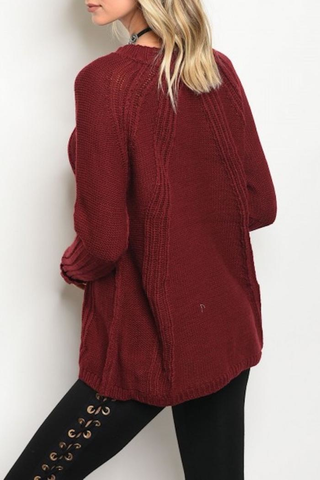 LoveRiche Zipper Accent Sweater - Front Full Image