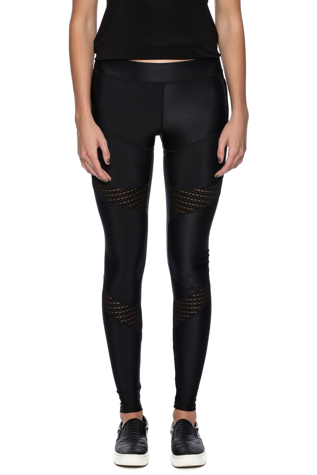 Lovers + Friends Mesh Work Out Leggings - Side Cropped Image