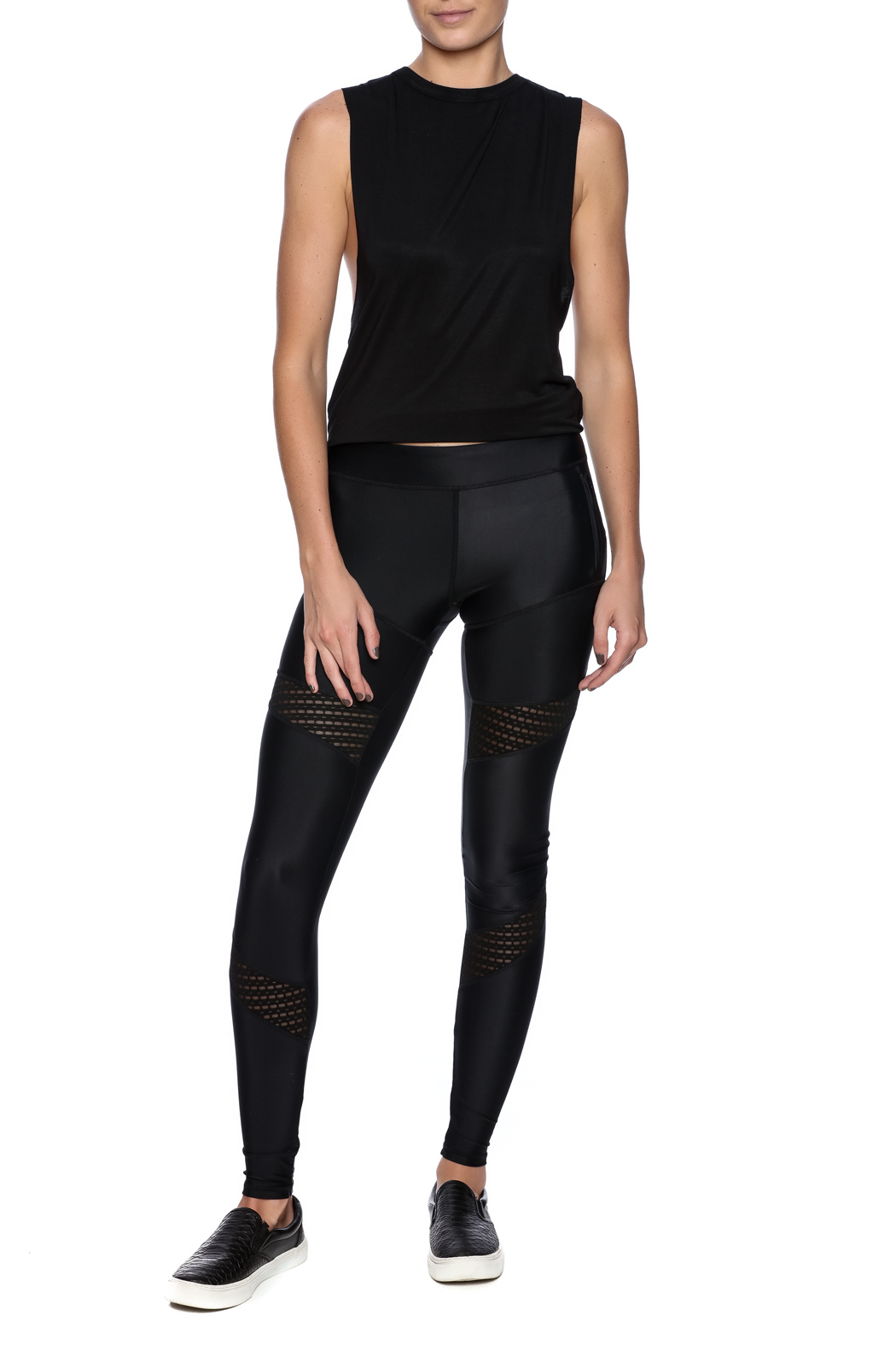 Lovers + Friends Mesh Work Out Leggings - Front Full Image