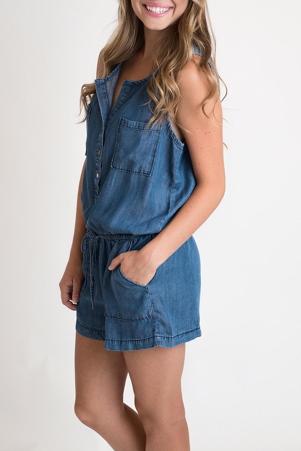 2f56a9917d6a Lovestich Sleeveless Denim Romper from Indiana by Single Thread ...