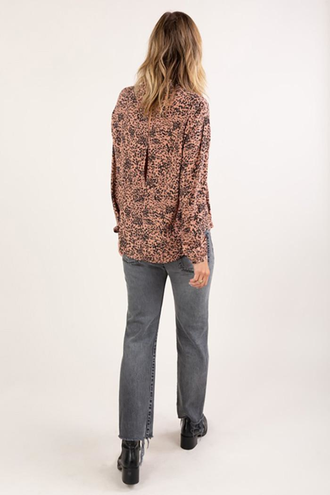 Lovestitch Abstract Animal Print Button Up Shirt - Back Cropped Image