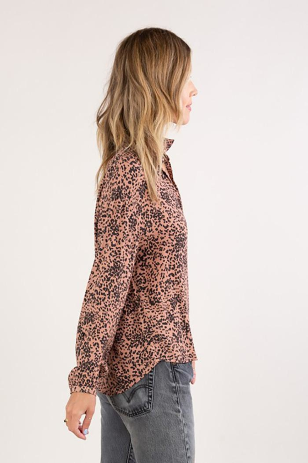 Lovestitch Abstract Animal Print Button Up Shirt - Side Cropped Image