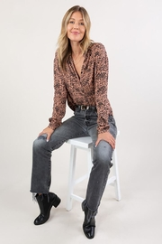 Lovestitch Abstract Animal Print Button Up Shirt - Other