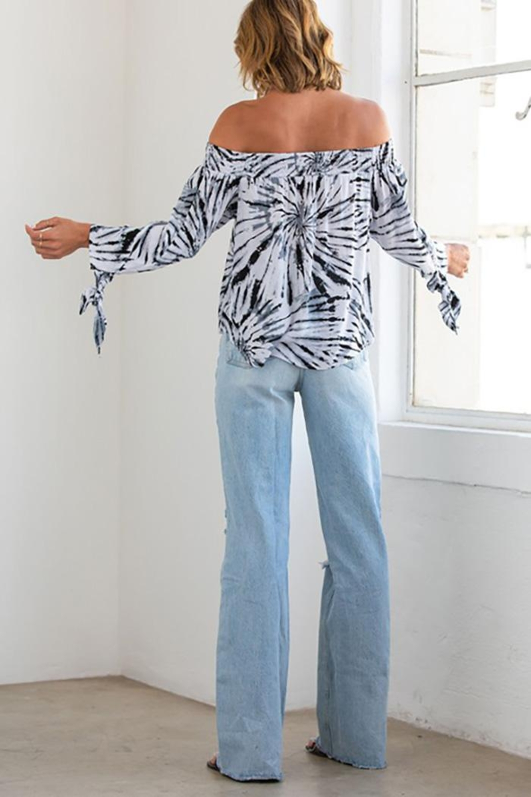 Lovestitch Abstract Tie Dye Smocked Off Shoulder Top - Front Full Image