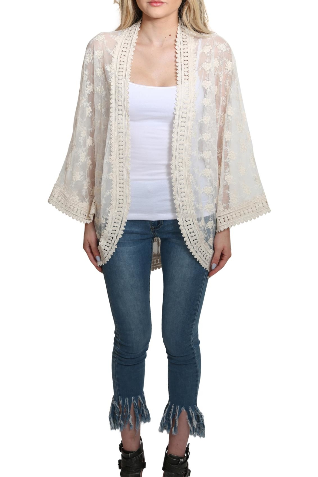 Lovestitch All Over Lace Kimono - Front Cropped Image