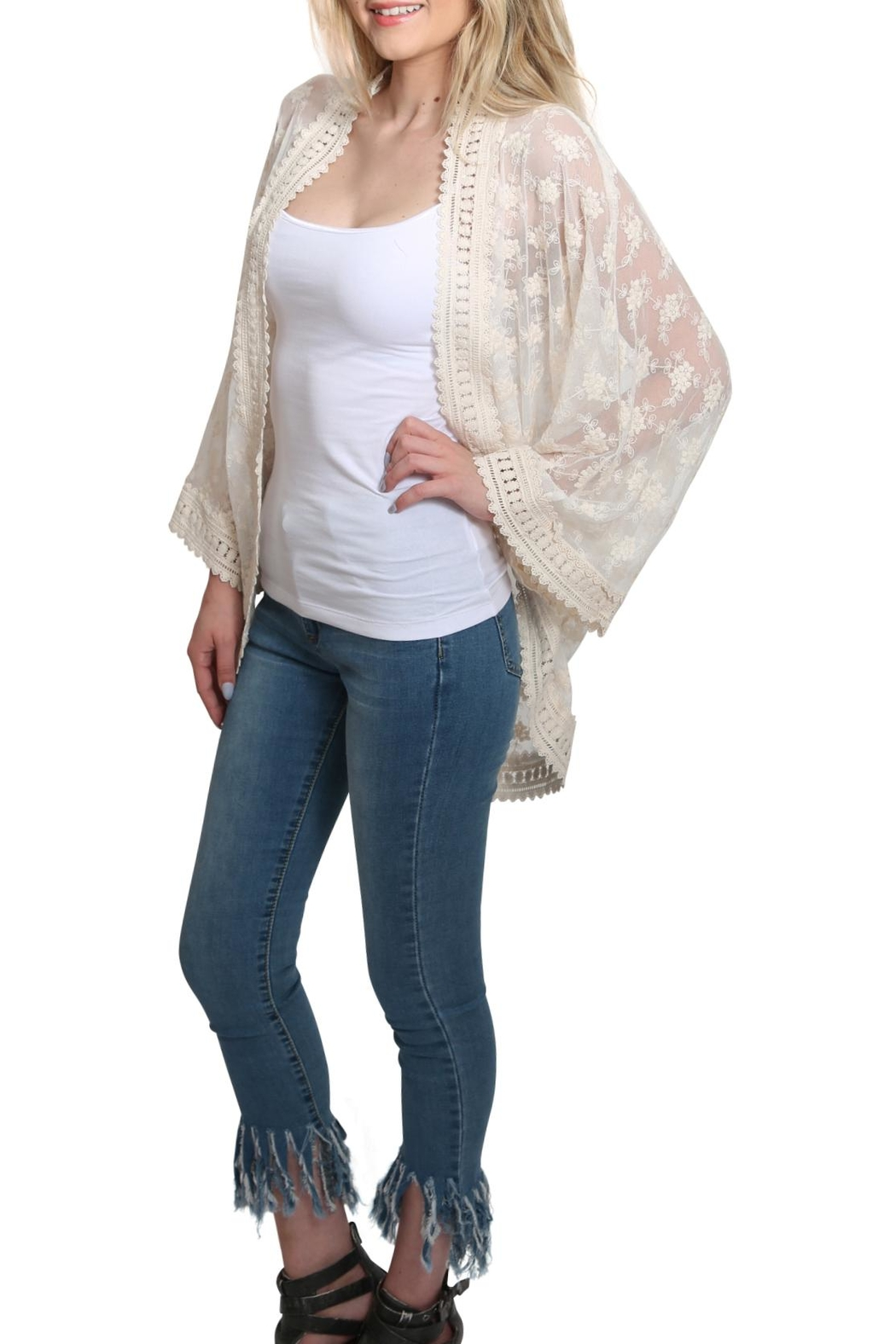 Lovestitch All Over Lace Kimono - Side Cropped Image