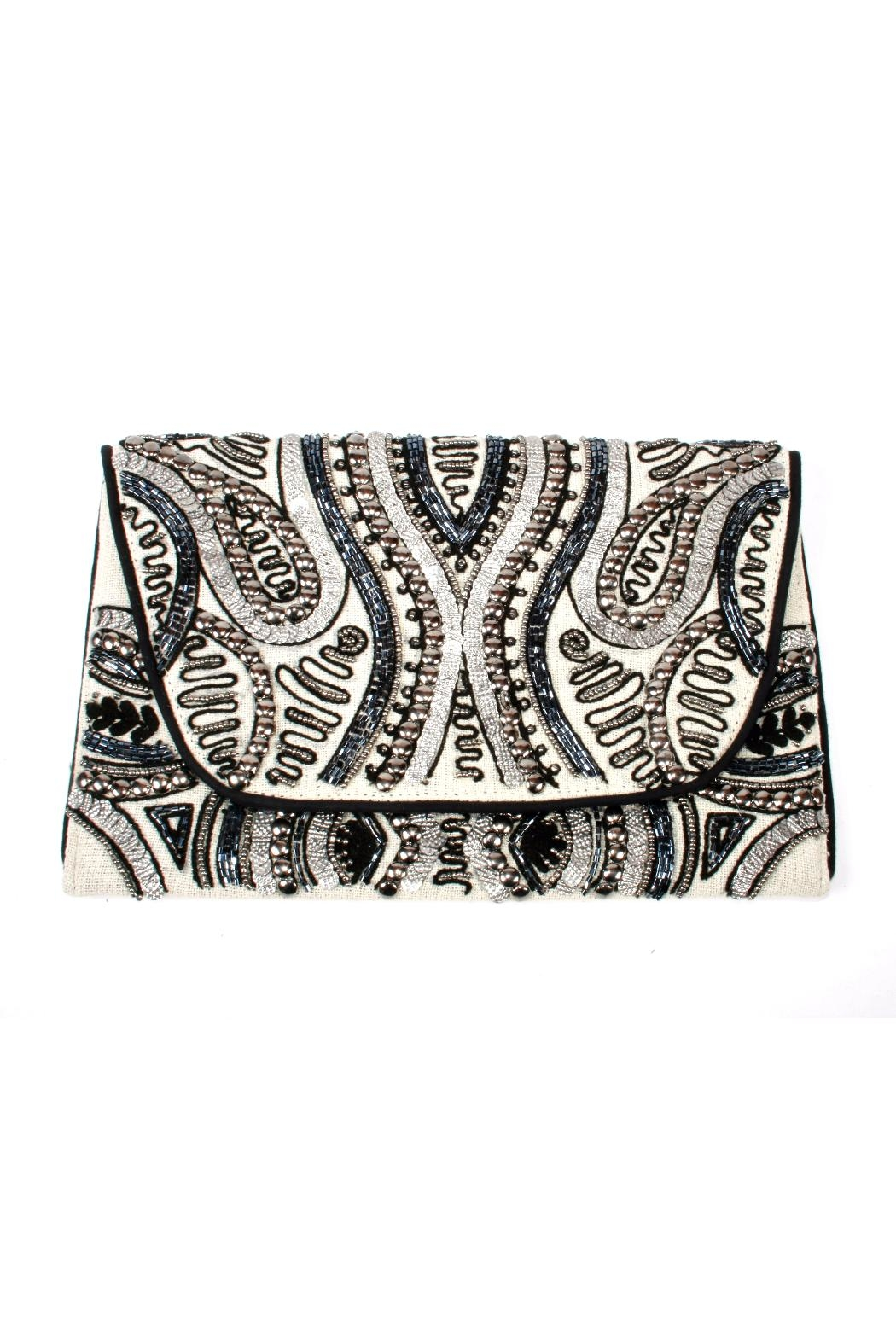 Lovestitch Beaded Embroidered Clutch - Main Image