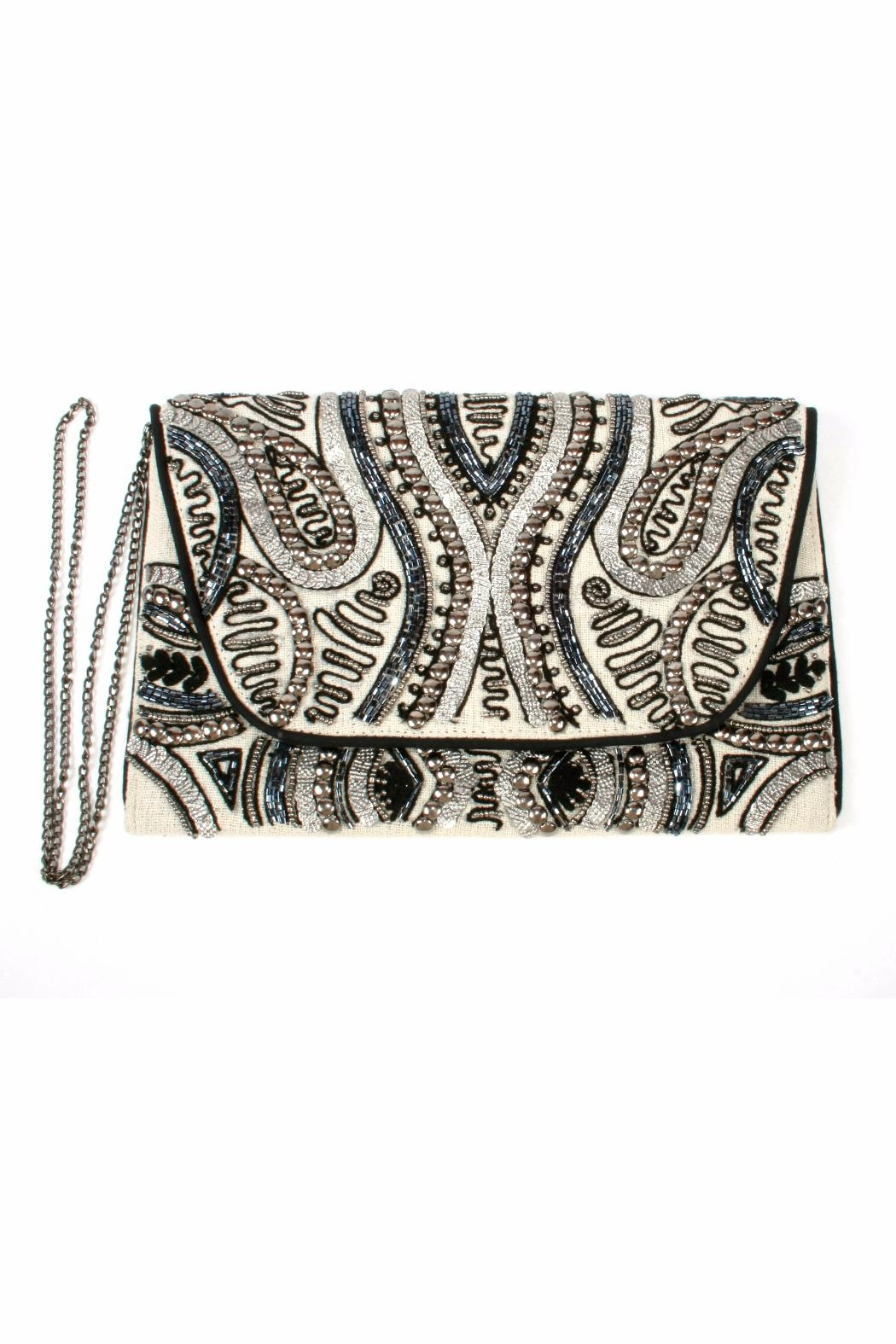 Lovestitch Beaded Embroidered Clutch - Side Cropped Image