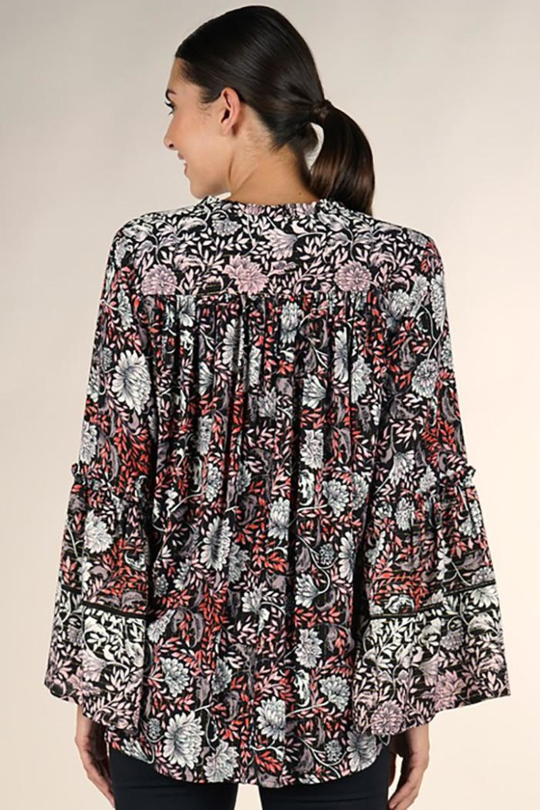 Lovestitch Bell Sleeve Surplice Top - Back Cropped Image