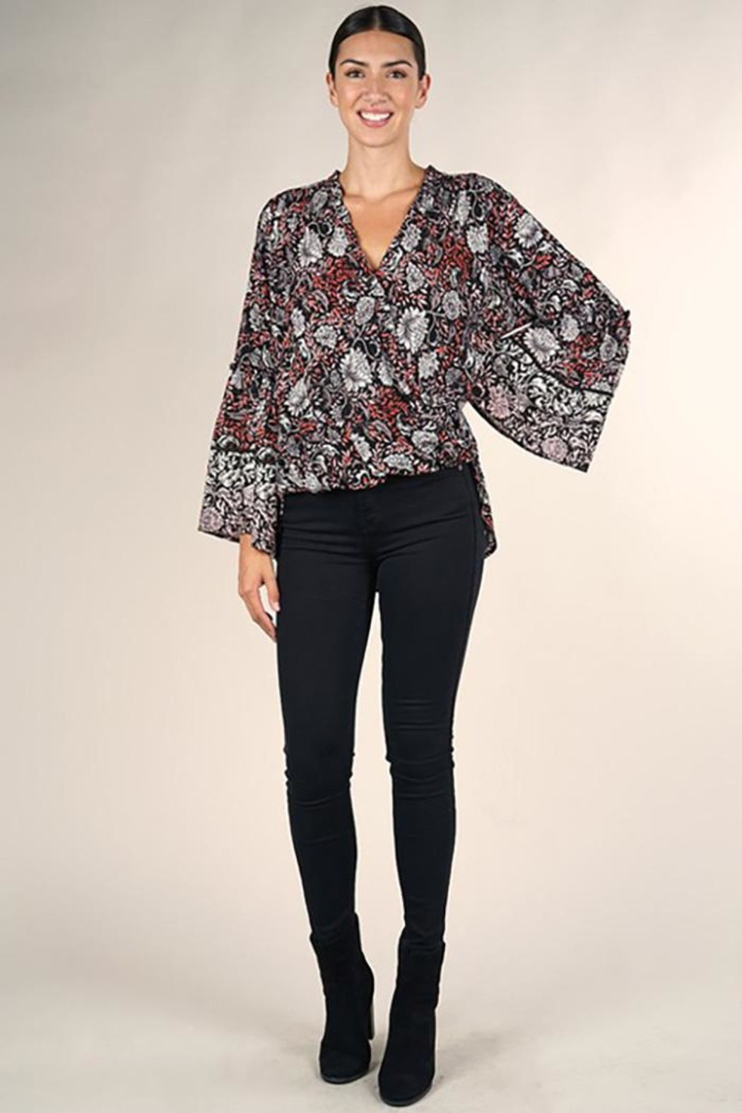 Lovestitch Bell Sleeve Surplice Top - Front Full Image