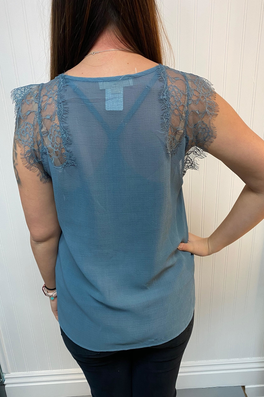 Lovestitch Blue Lace Blouse - Front Full Image