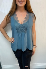 Lovestitch Blue Lace Blouse - Front cropped
