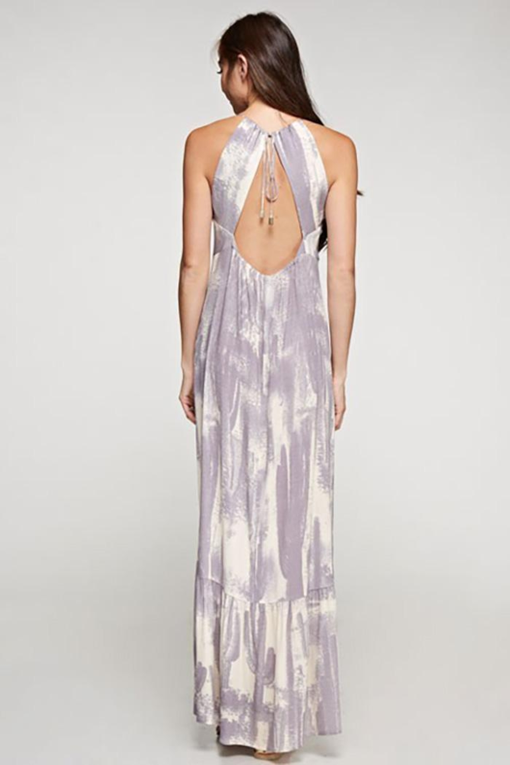 Lovestitch Cactus Twist Front Maxi Dress - Back Cropped Image