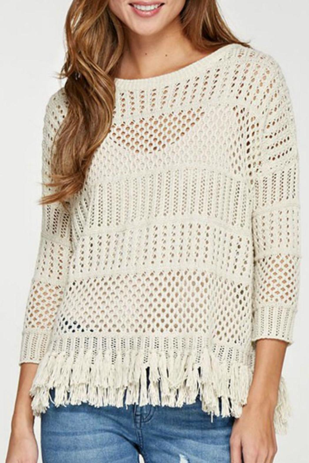 Lovestitch Crochet Fringed Sweater - Side Cropped Image