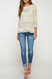 Lovestitch Crochet Fringed Sweater - Front cropped