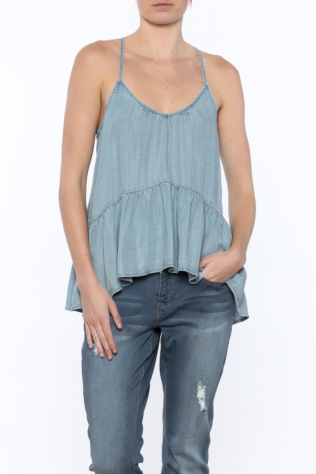 Lovestitch Denim Cami - Front Cropped Image