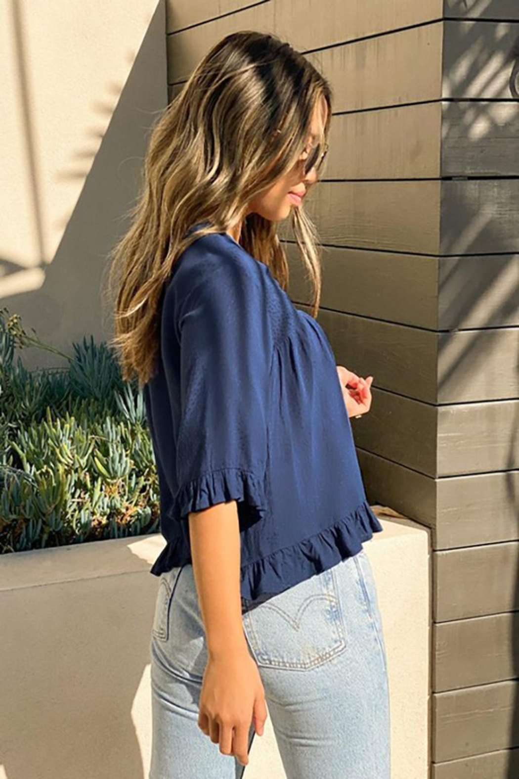 Lovestitch Dot Jacquard Flowy Cropped Top - Side Cropped Image