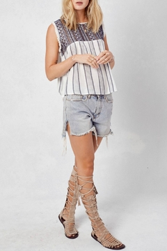 Shoptiques Product: Blue Boho Embroidered Top