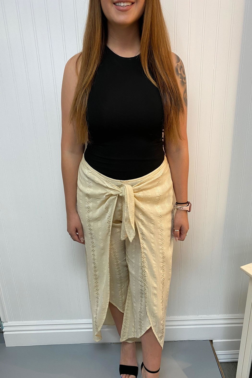Lovestitch Embroidered Cream Pants - Main Image