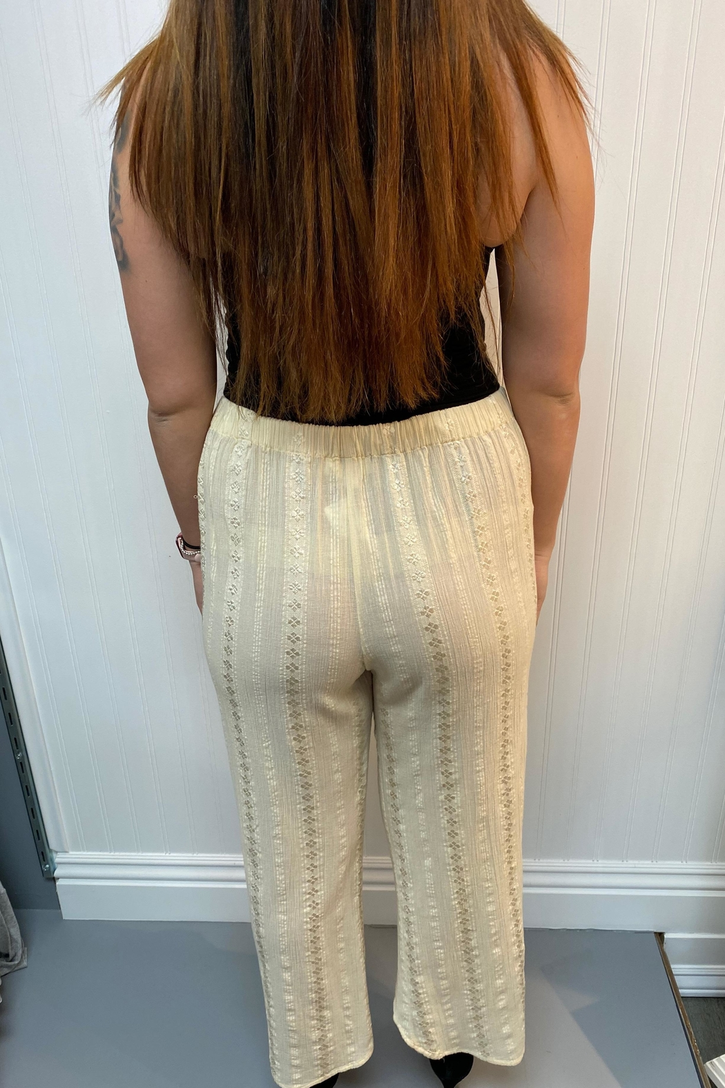 Lovestitch Embroidered Cream Pants - Front Full Image