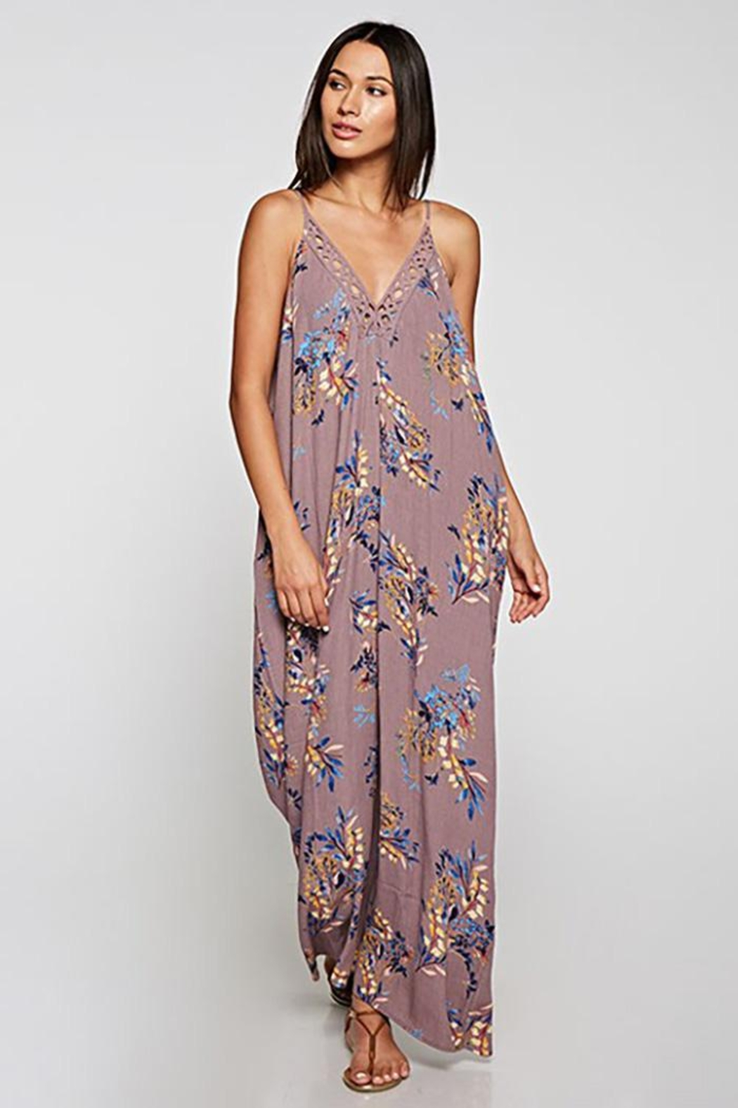 Lovestitch Embroidered V-Neck Maxi Dress - Main Image