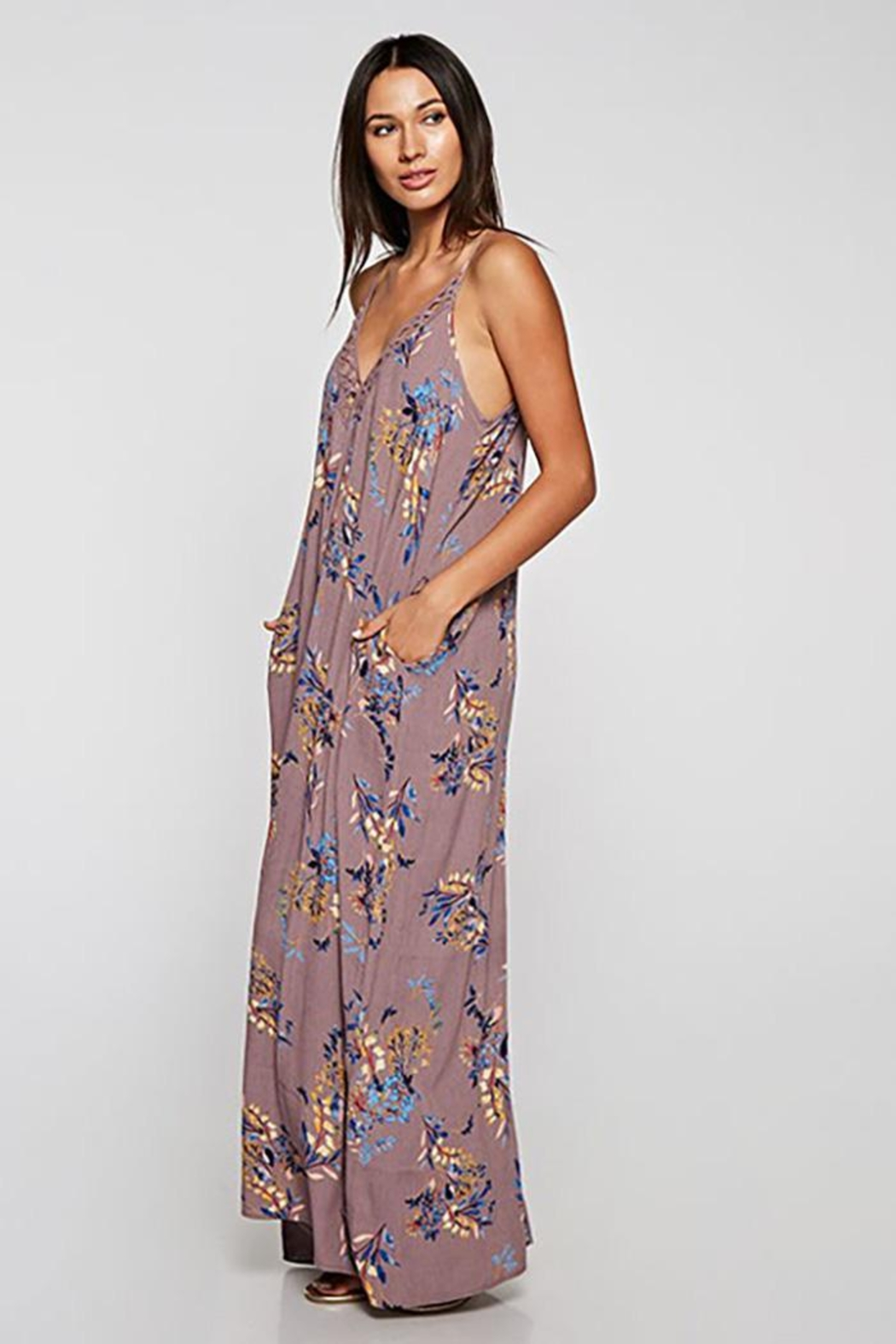Lovestitch Embroidered V-Neck Maxi Dress - Back Cropped Image