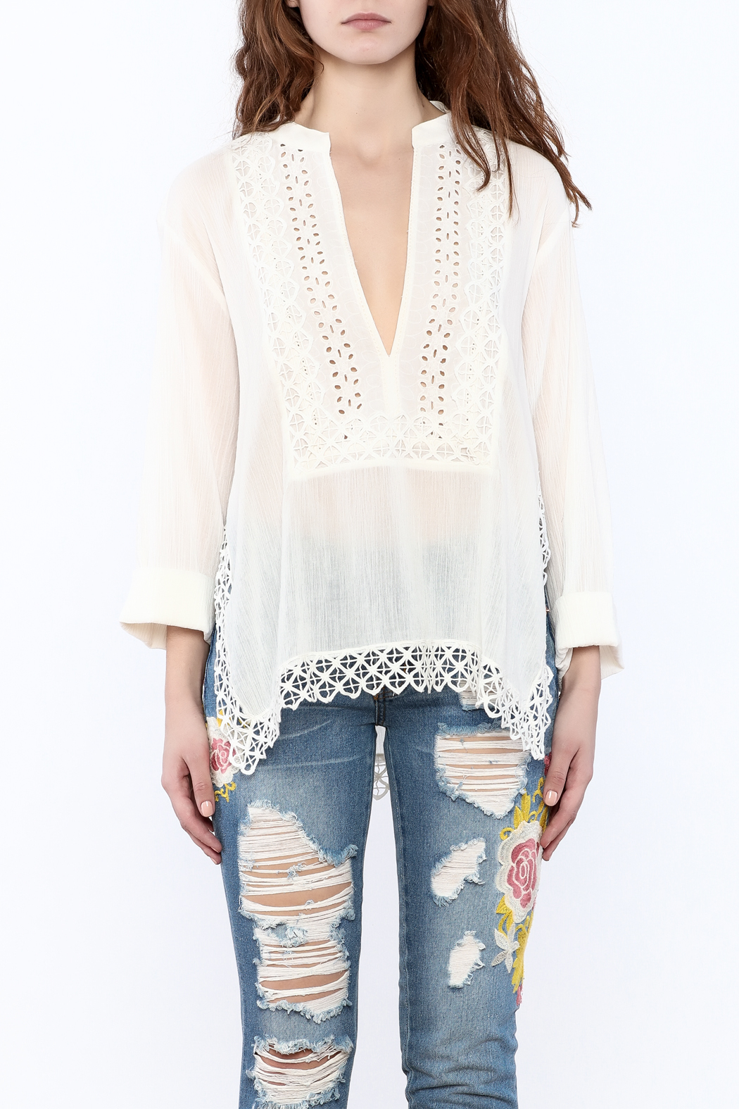 Lovestitch Eyelet Gauze Tunic - Side Cropped Image