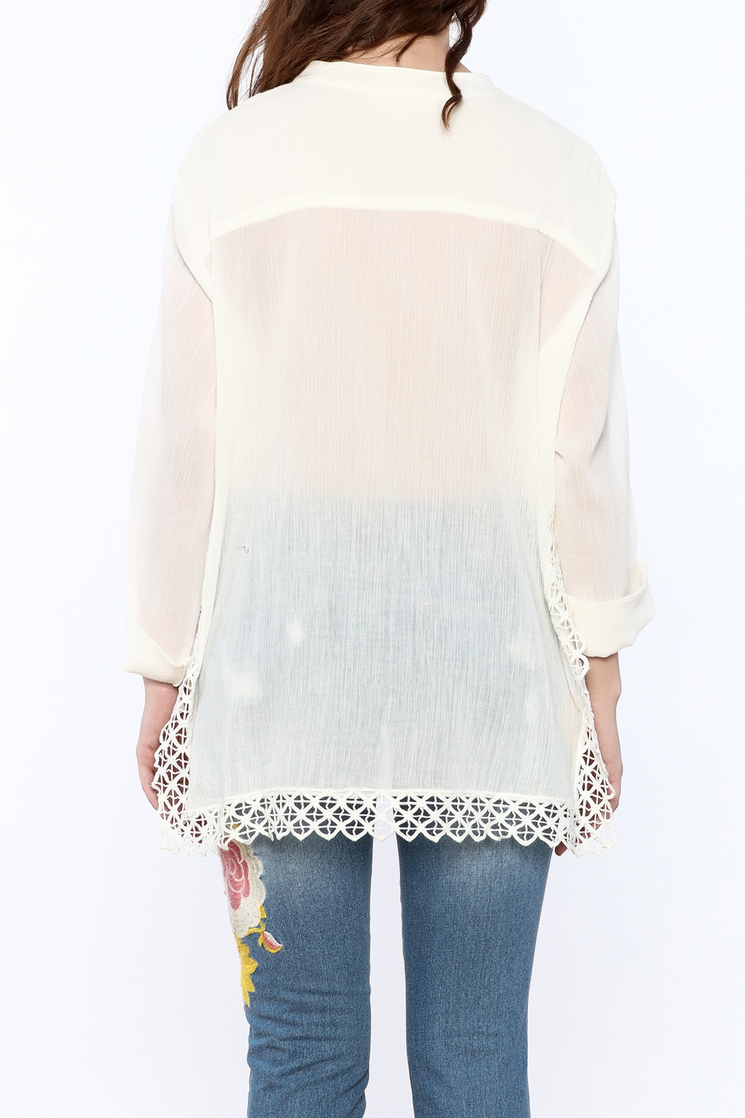Lovestitch Eyelet Gauze Tunic - Back Cropped Image