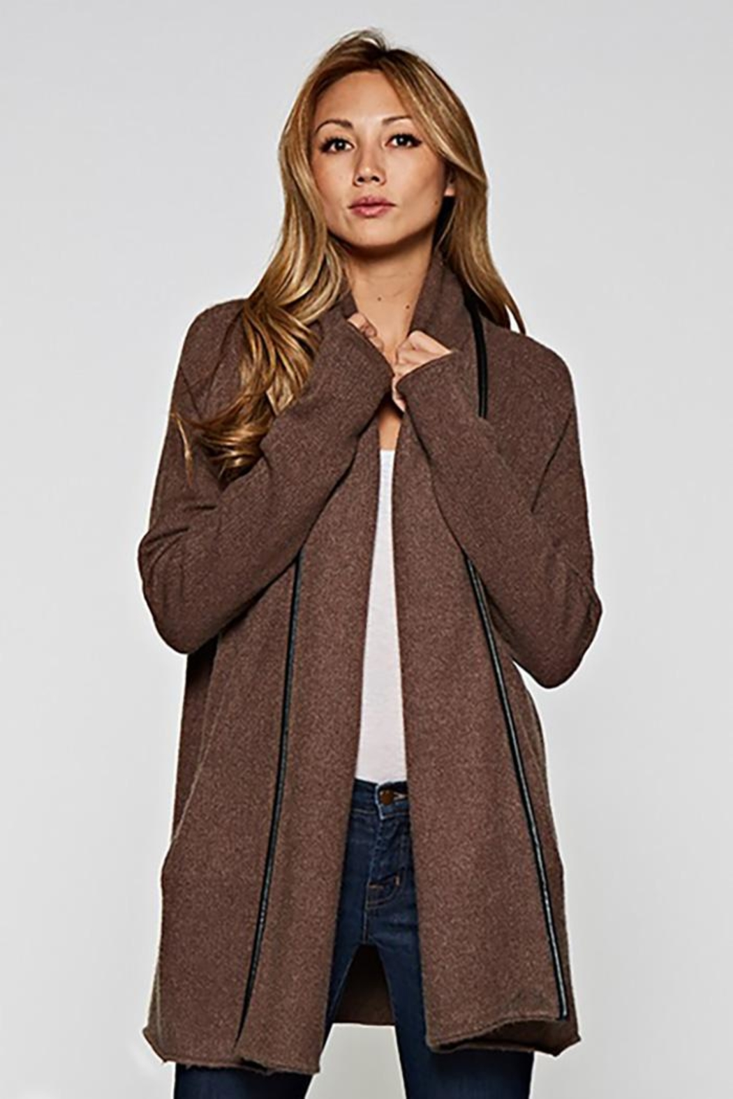 Lovestitch Faux Leather-Trim Cardigan - Front Cropped Image