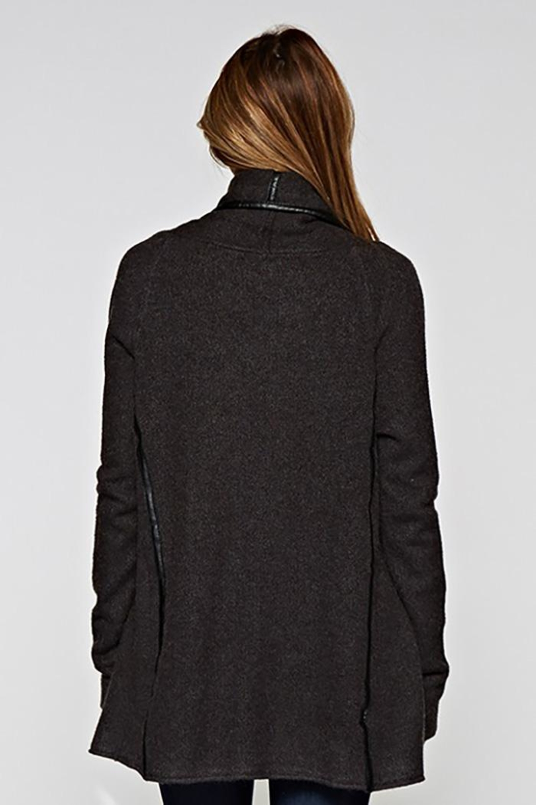 Lovestitch Faux Leather-Trim Cardigan - Side Cropped Image